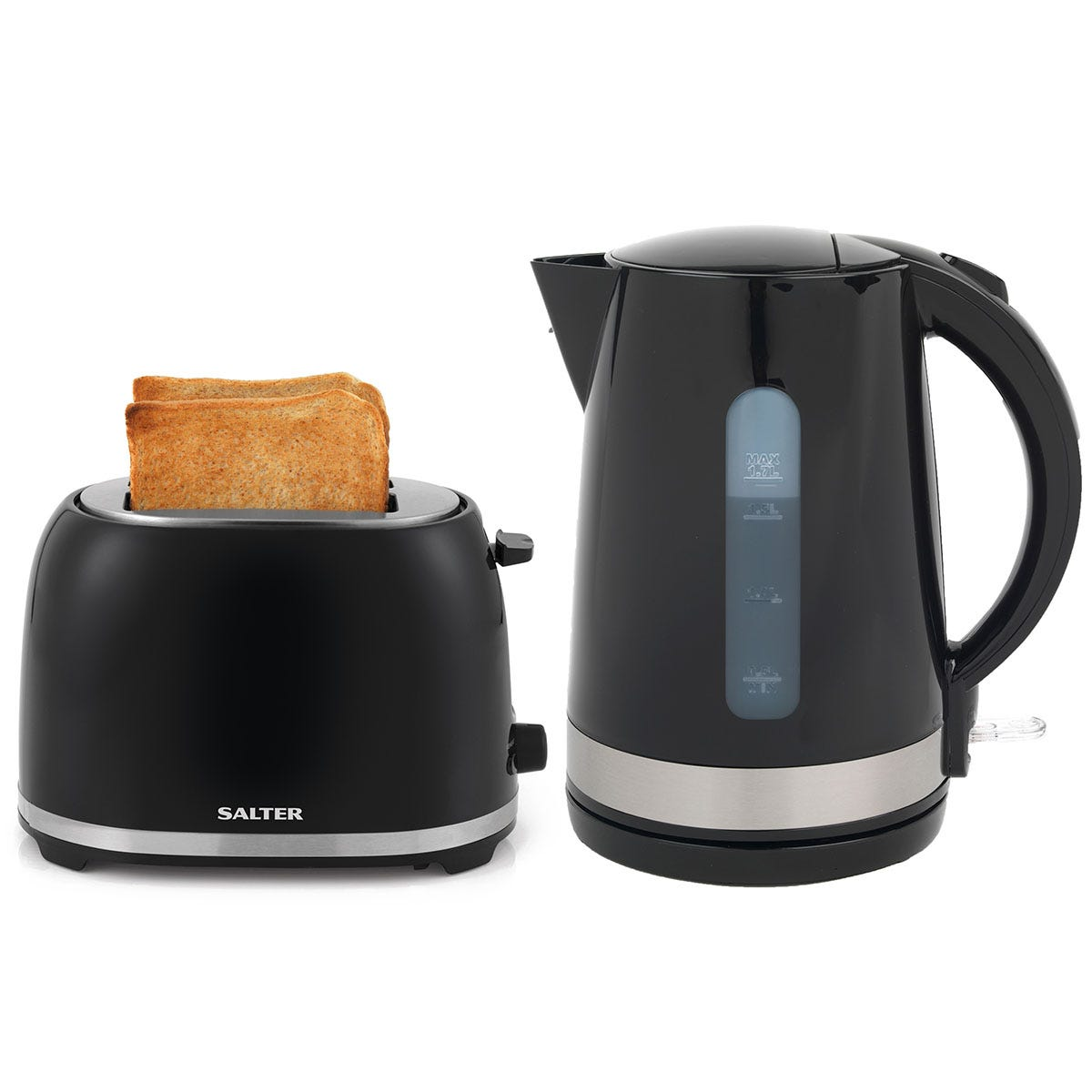 Salter Deco Collection 1.7L Kettle and 2-Slice Cool-Touch Toaster Set - Black and Stainless Steel