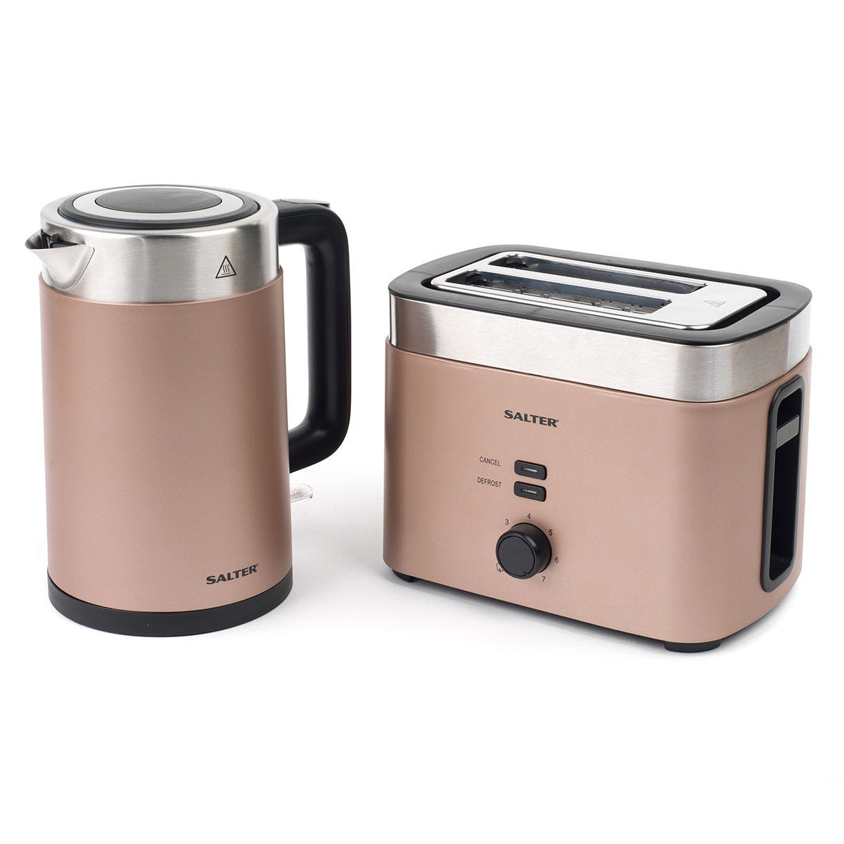 Salter COMBO-3936 Vega Cool-Touch 1.5L 3000W Kettle and 2-Slice 930W Toaster Set - Champagne