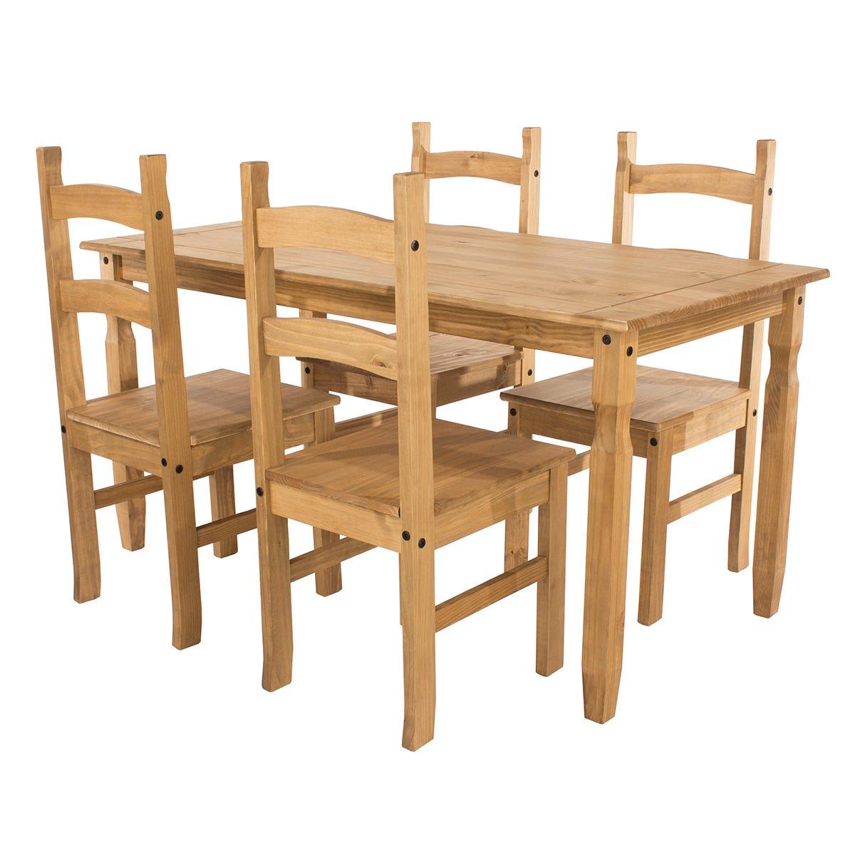 Halea Large Rectangular Dining Table & 4 Chairs