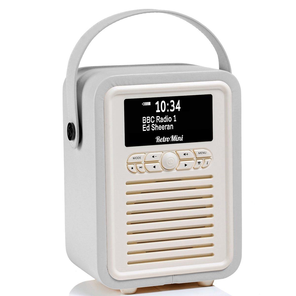 View Quest VQ Retro Mini DAB+ Digital & FM Radio with Bluetooth and Dual Alarm Clock - Light Grey