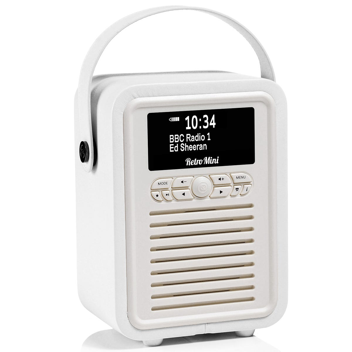 View Quest VQ Retro Mini DAB+ Digital & FM Radio with Bluetooth and Dual Alarm Clock - White