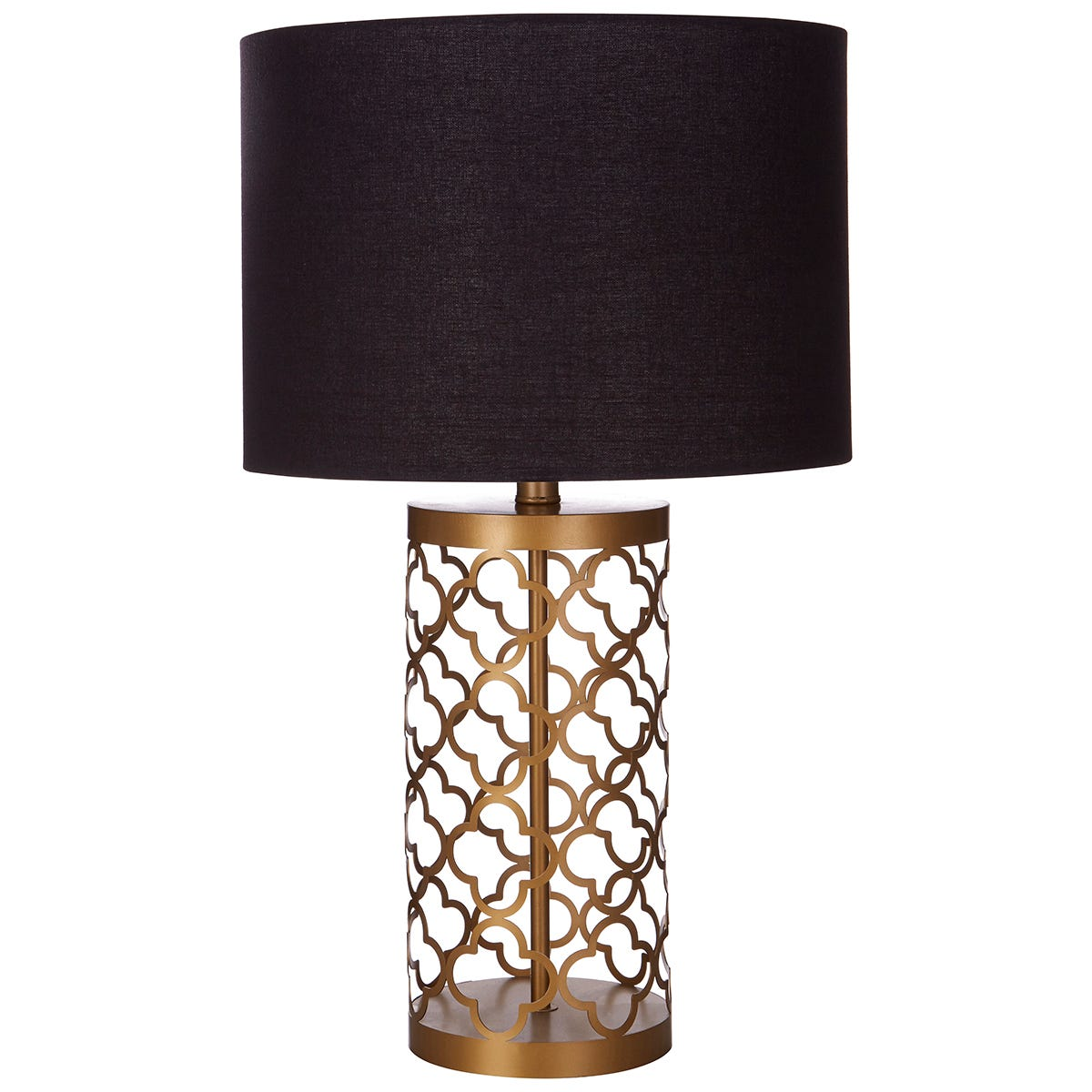 Premier Housewares Lexis Table Lamp with Copper Lattice Body & Black Shade