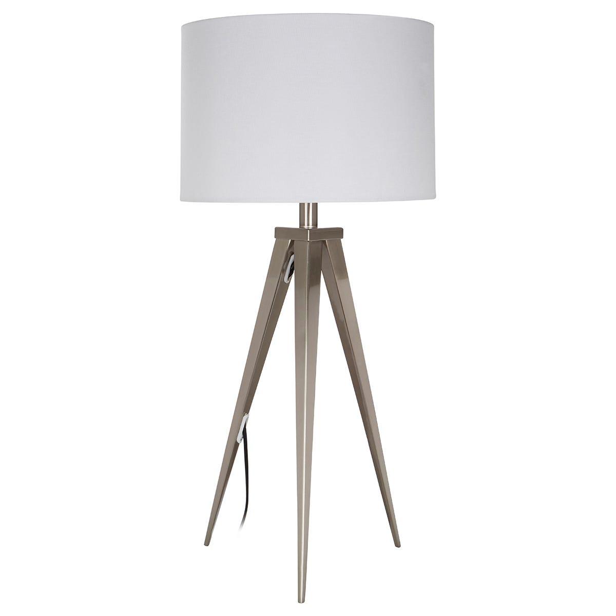 Premier Housewares Livia Table Lamp with Metal Tripod Frame & White Fabric Shade