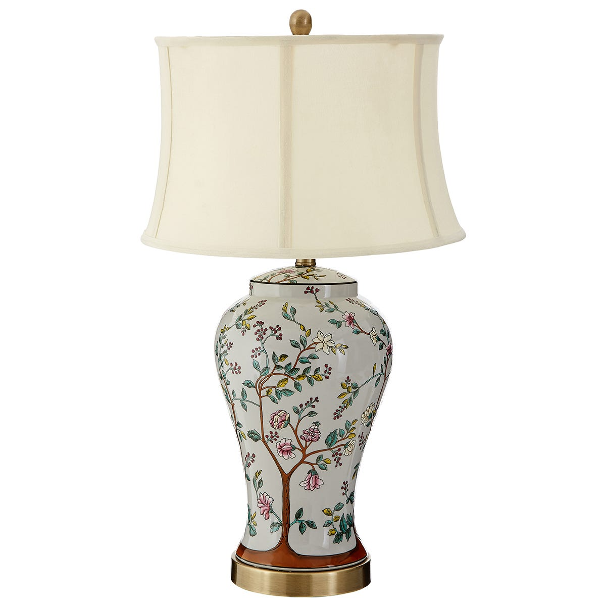 Premier Housewares Covent Table Lamp with Metal/Ceramic Base & Cream Fabric Shade