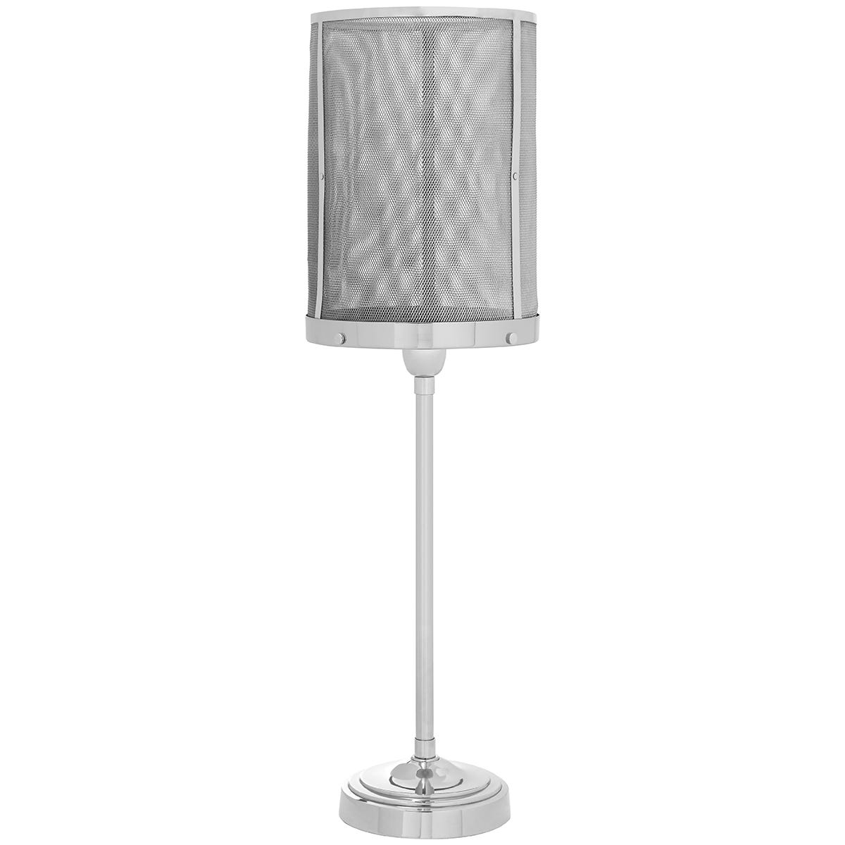 Premier Housewares Myles Table Lamp with Silver Finish Mesh Shade