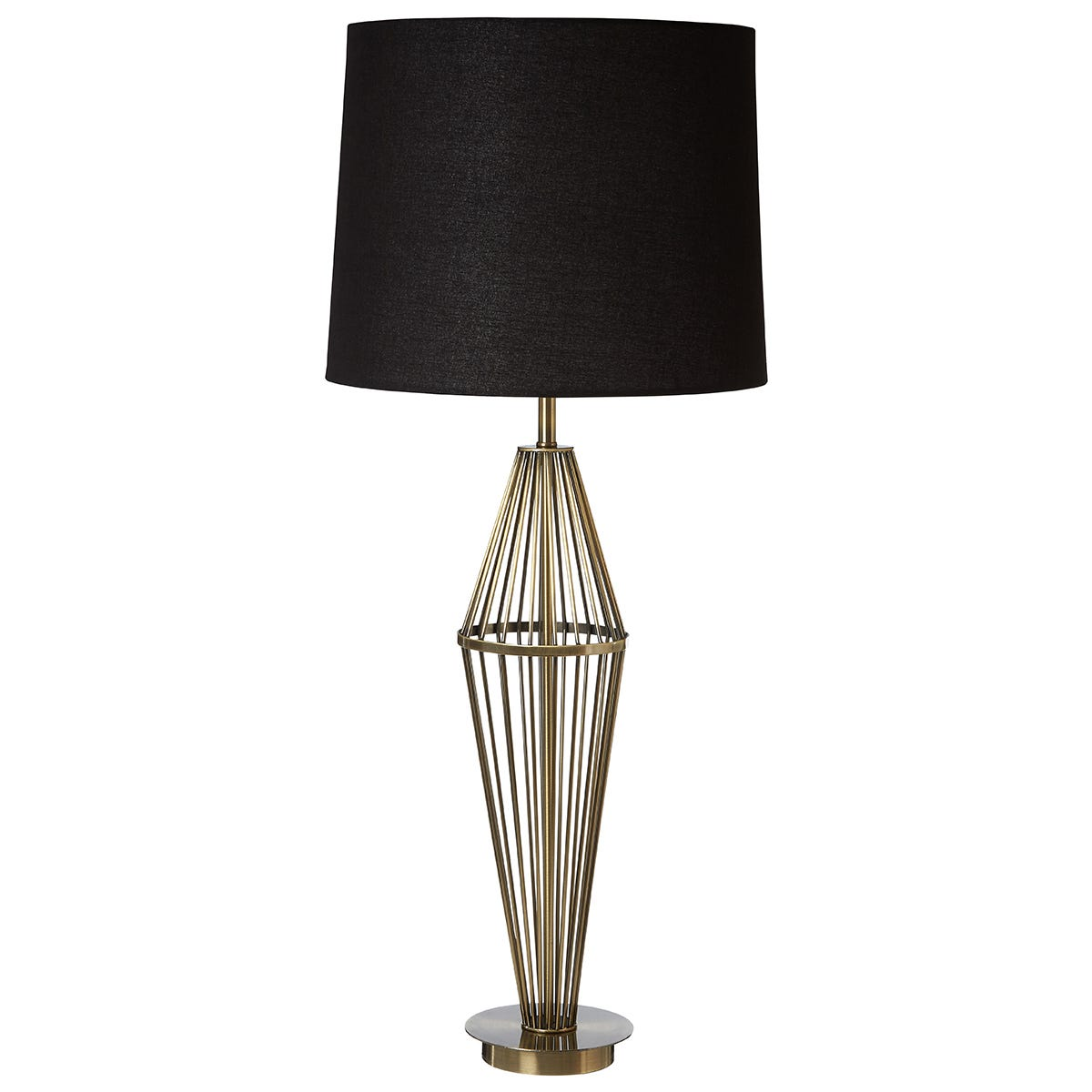 Premier Housewares Reginald Table Lamp in Antique Brass Finish with Black Fabric Shade