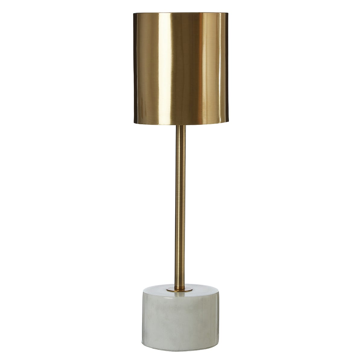 Premier Housewares Palais Table Lamp with White Marble Base & Brushed Brass Finish Shade