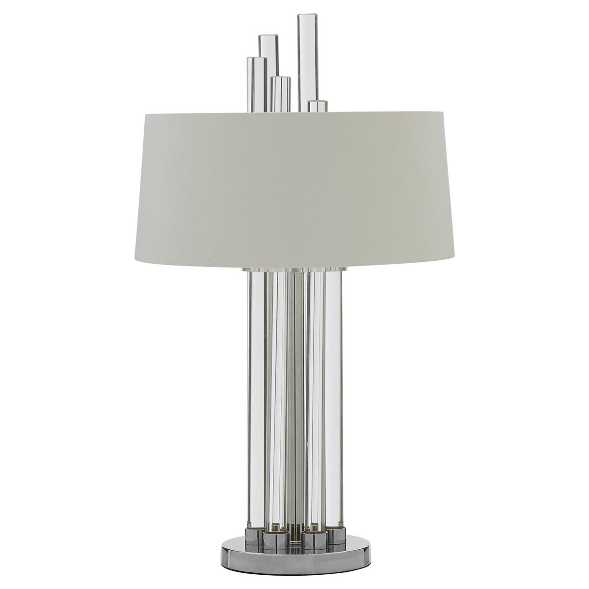 Premier Housewares Midas Table Lamp with Silver Finish Base & White Fabric Shade