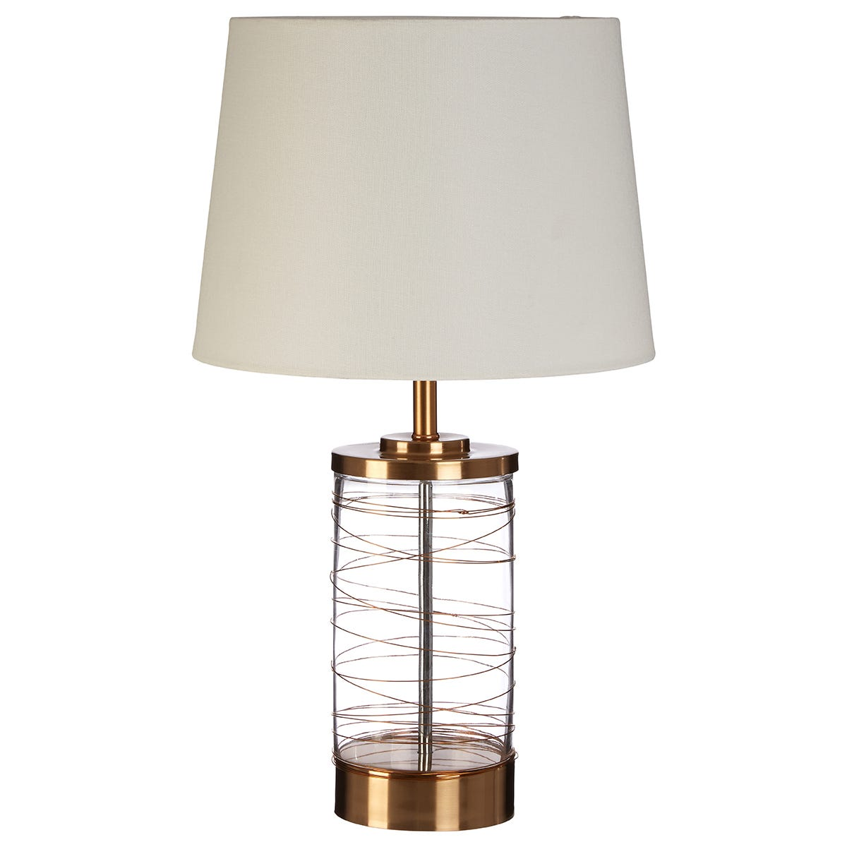 Premier Housewares Zola Table Lamp in Glass/Gold Finish with White Linen Shade