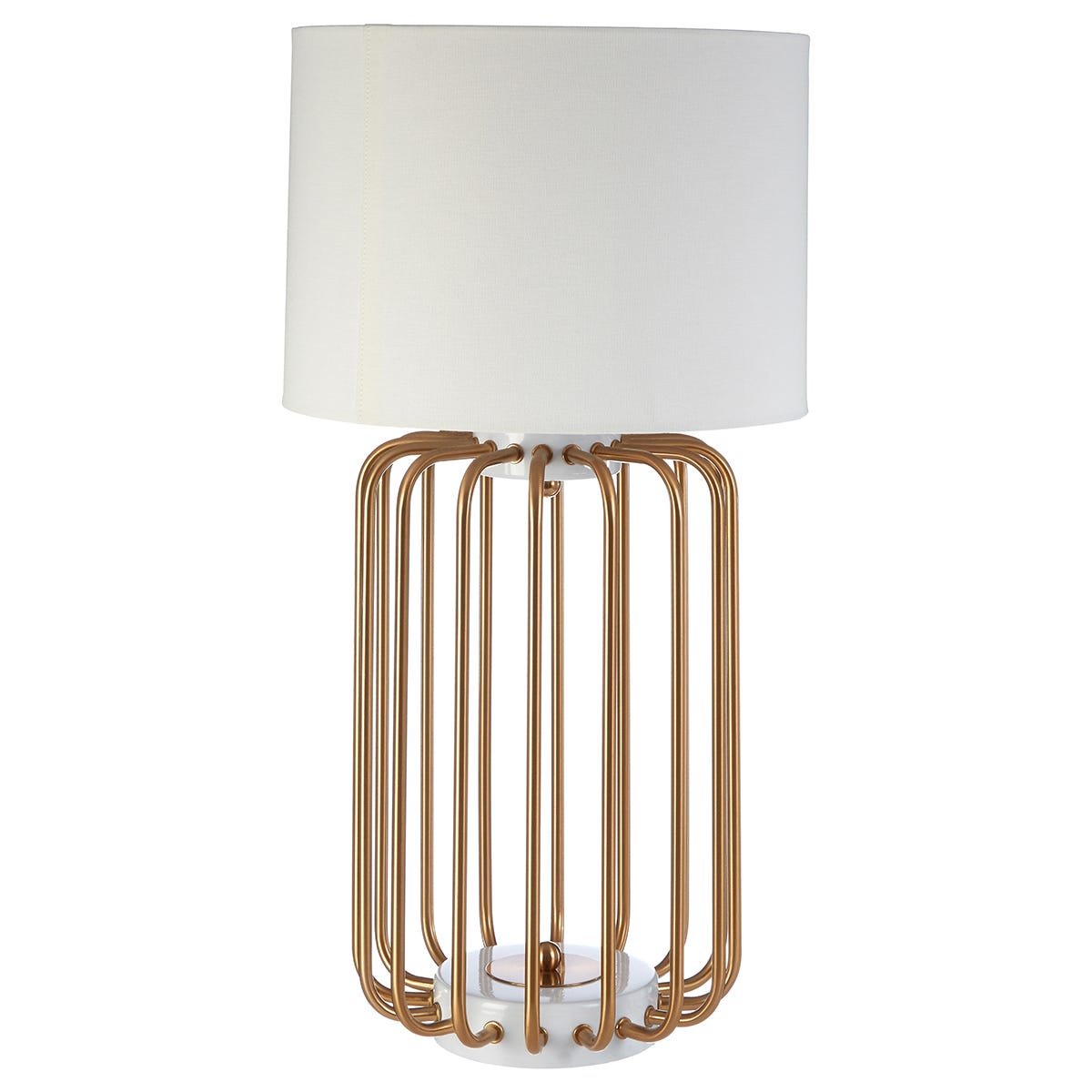 Premier Housewares Zora Table Lamp in Gold Finish with White Linen Shade