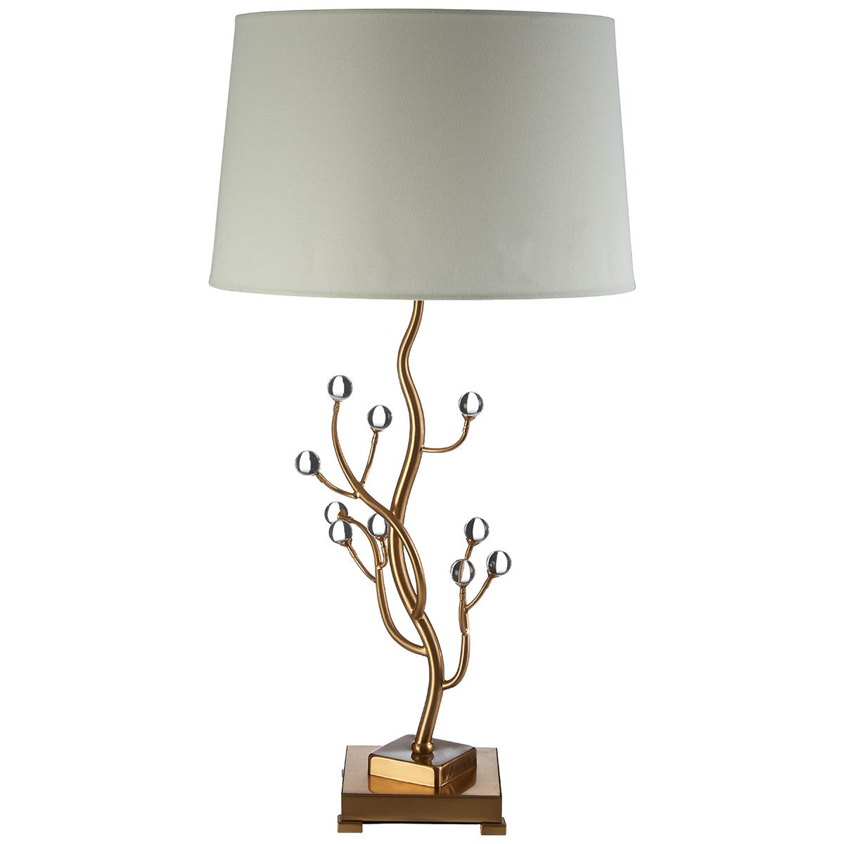 Premier Housewares Zeva Table Lamp in Crystal/Gold Finish with White Linen Shade