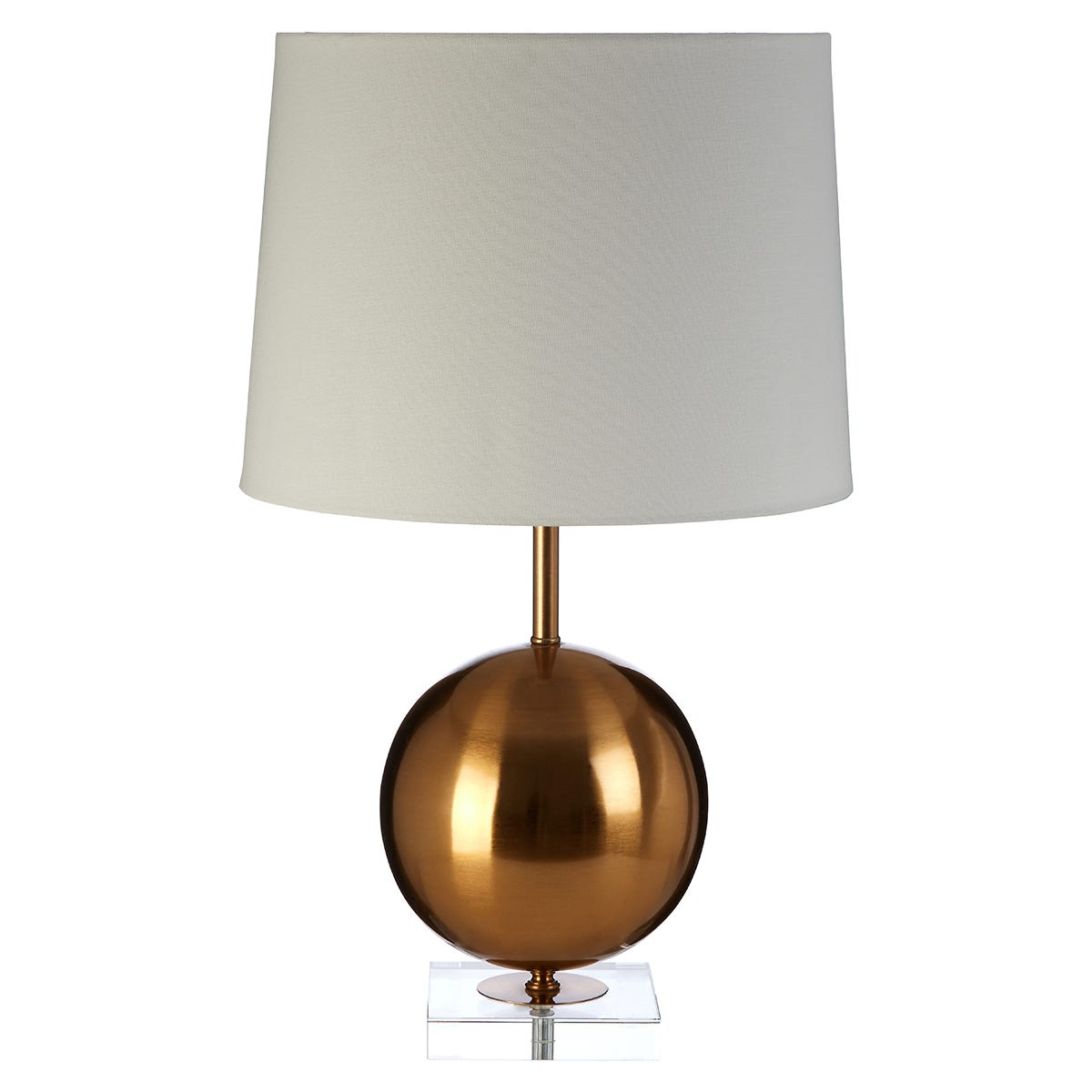 Premier Housewares Zena Table Lamp in Crystal/Gold Finish with White Linen Shade