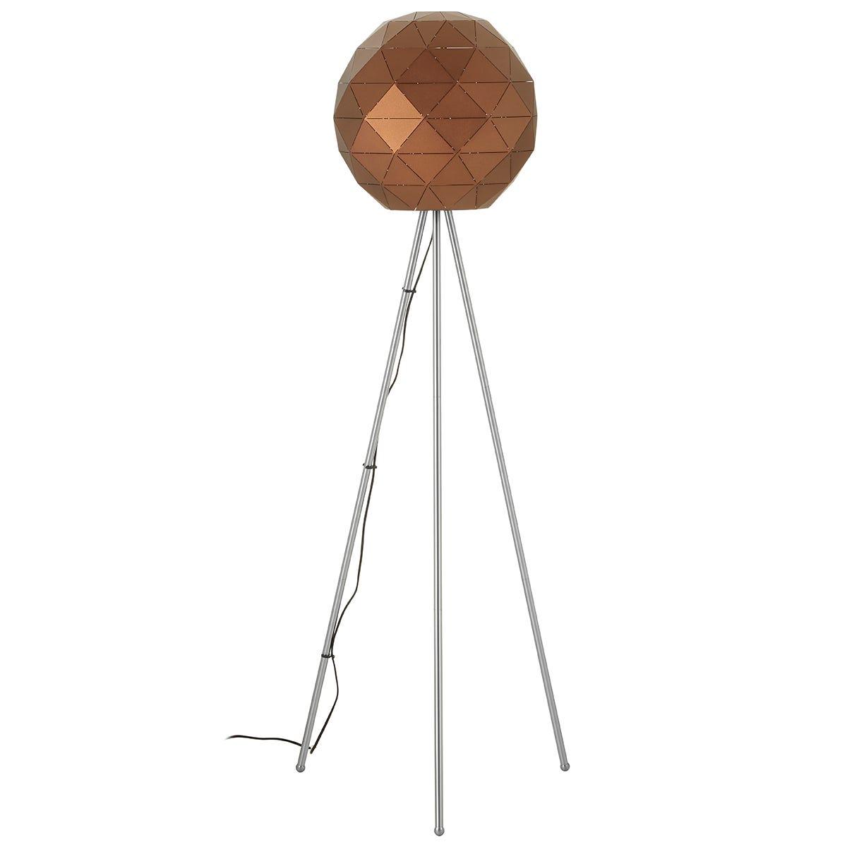 Premier Housewares Mateo Geometric Floor Lamp With Steel Base - Coffee