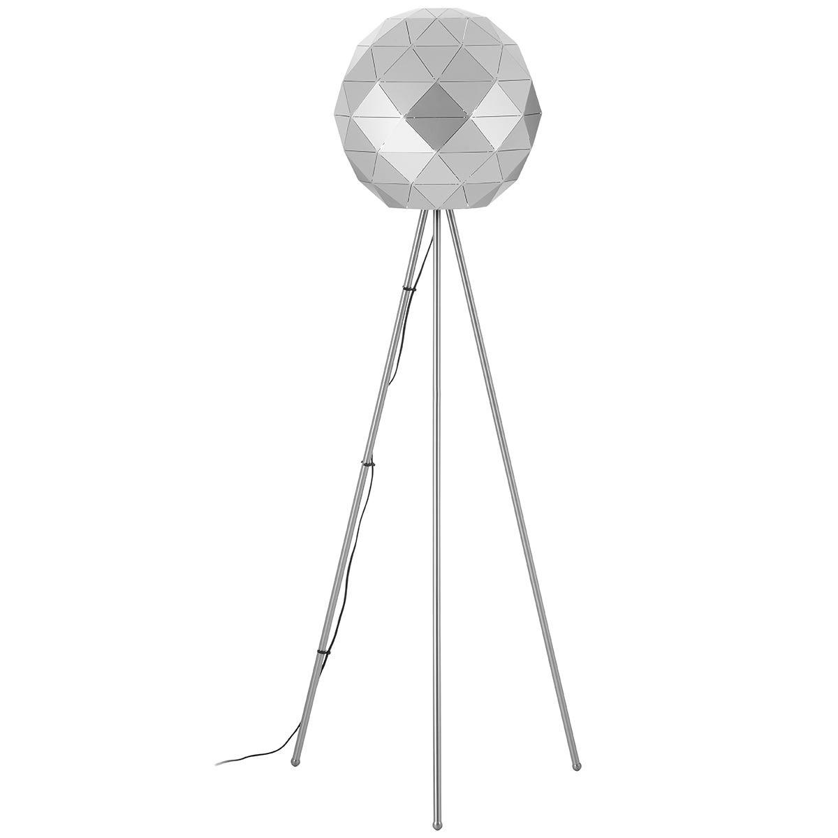 Premier Housewares Mateo Geometric Floor Lamp with Steel Base - Silver