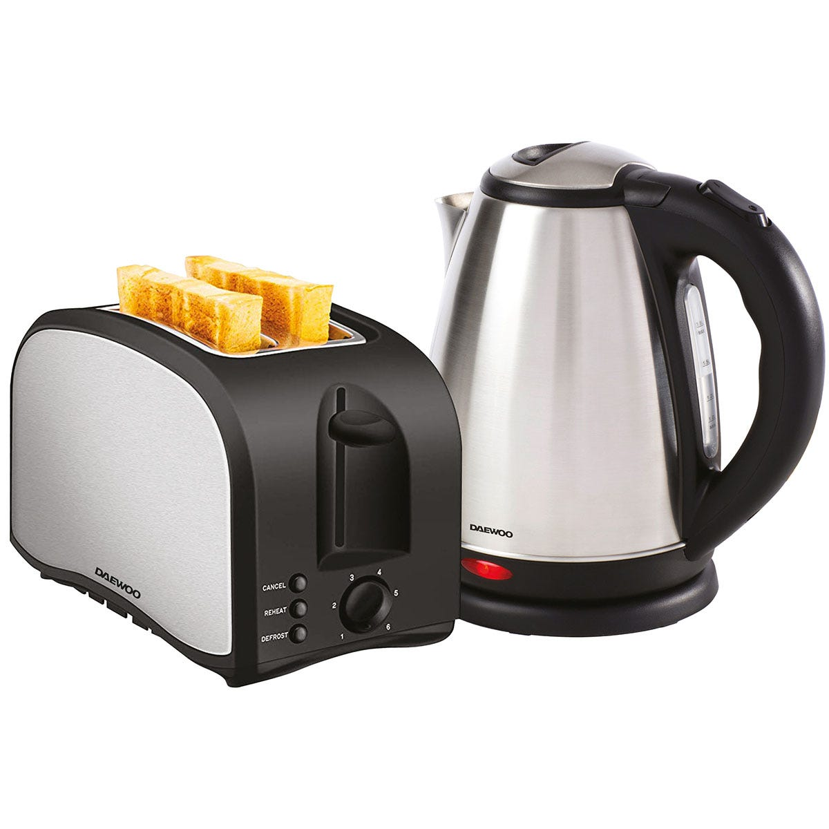 Daewoo SDA1712 Kettle and Toaster Set - Brushed Stainless Steel and Black