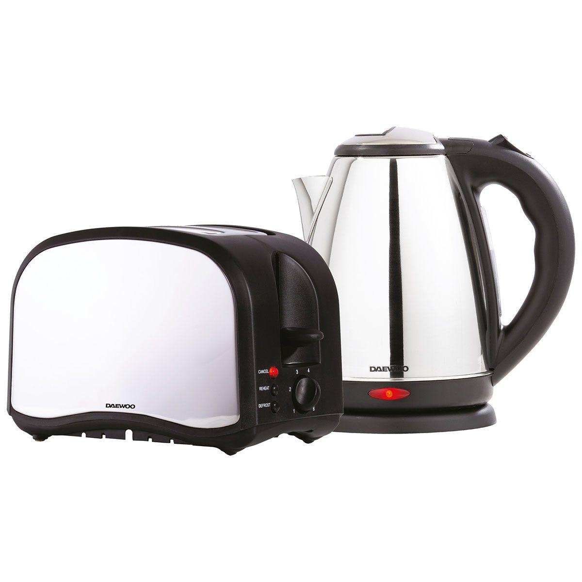 Daewoo SDA1713 1.8L Jug Kettle and 2-Slice Toaster Set - Polished Stainless Steel