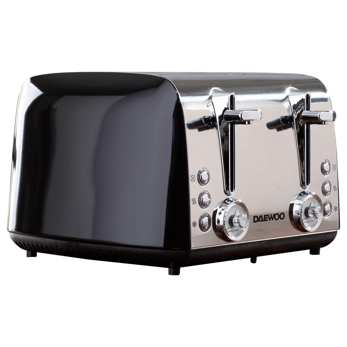 Daewoo SDA1777DS Kingsbury 4-Slice Dial 1850W Toaster - Black