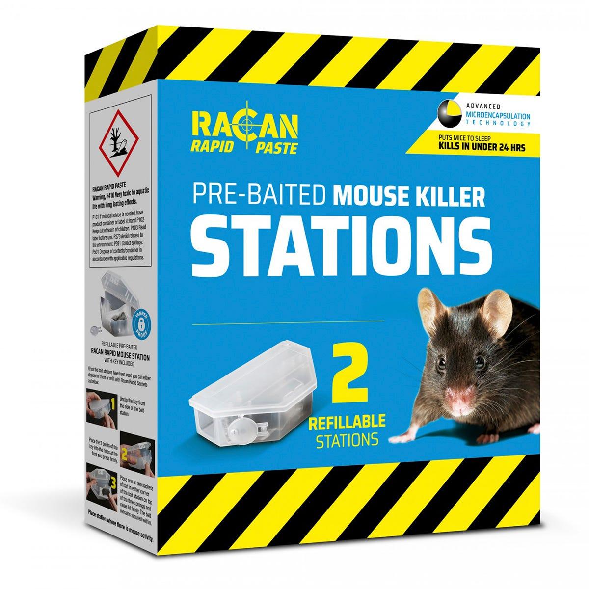 Racan Rapid Pre-Baited Mouse Killer Station - Pk 2