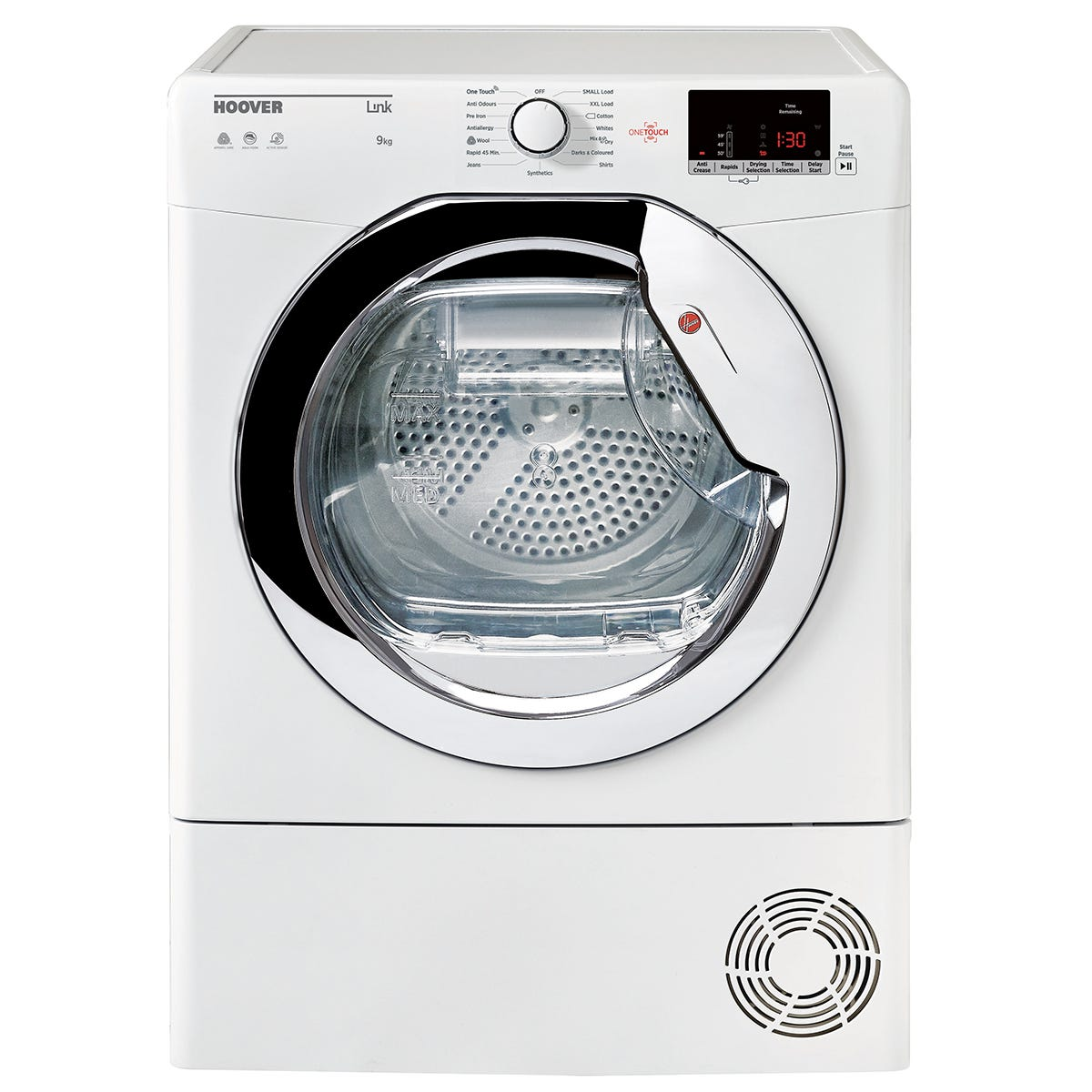 Hoover HLC9DCE Aquavision 9kg Condenser Tumble Dryer - White with Chrome Door