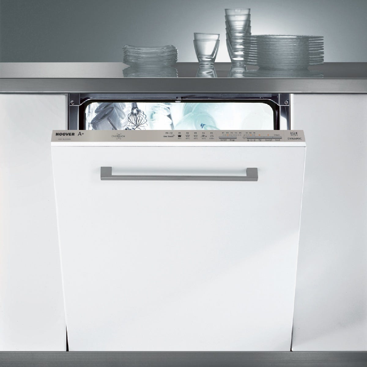 Hoover HDI 1LO38S-80/T Fully Integrated Dishwasher NFC with 13 Place Settings - White with Silver Control Panel