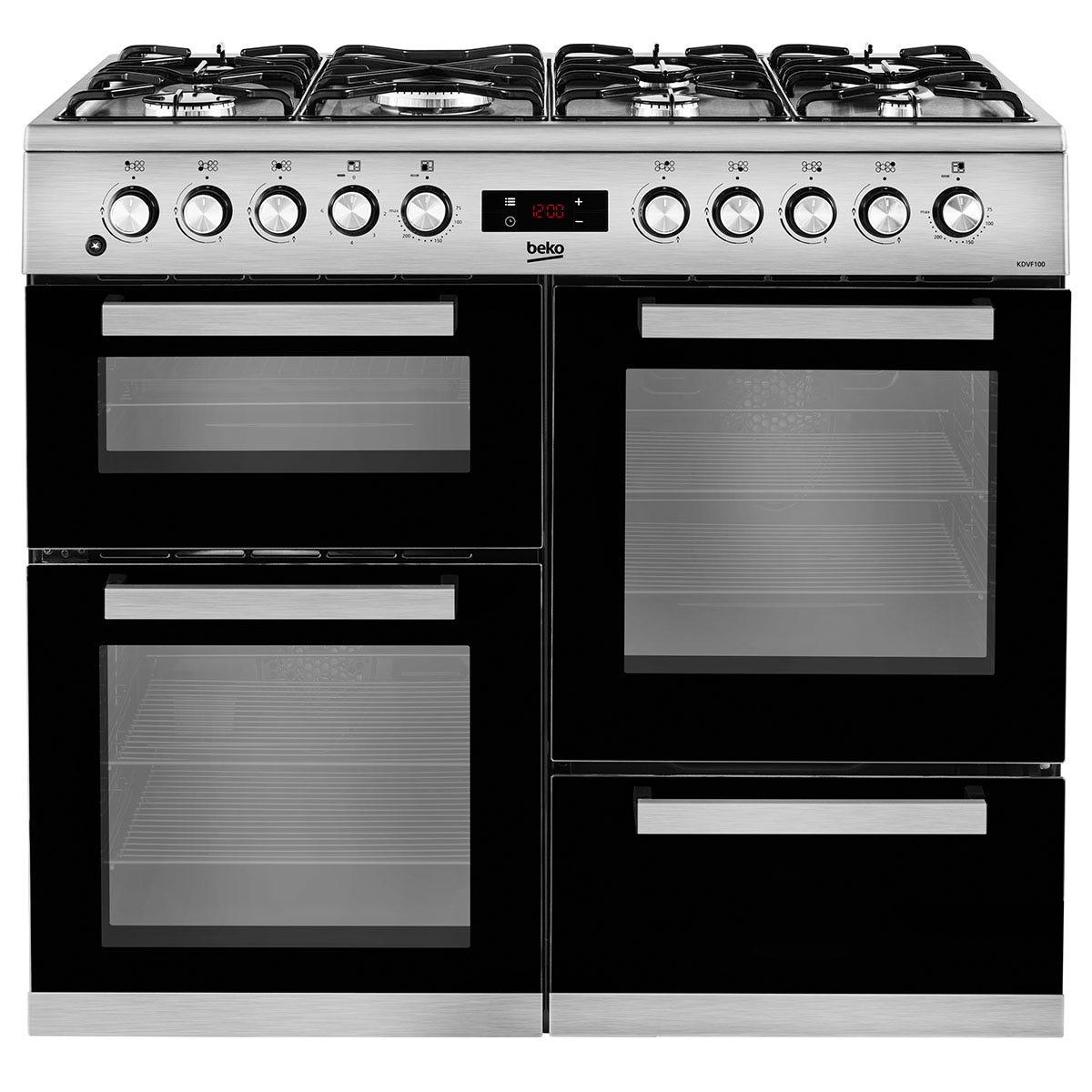 Beko KDVF100X Freestanding 100cm Double-Oven Range Cooker - Stainless Steel