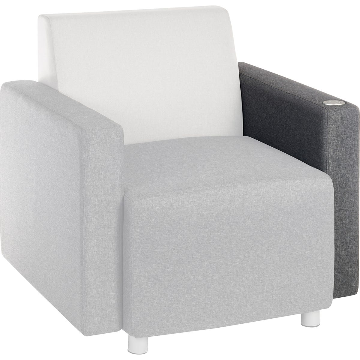 Teknik Cube Modular Reception Sofa - Dark Grey Left Hand Chair