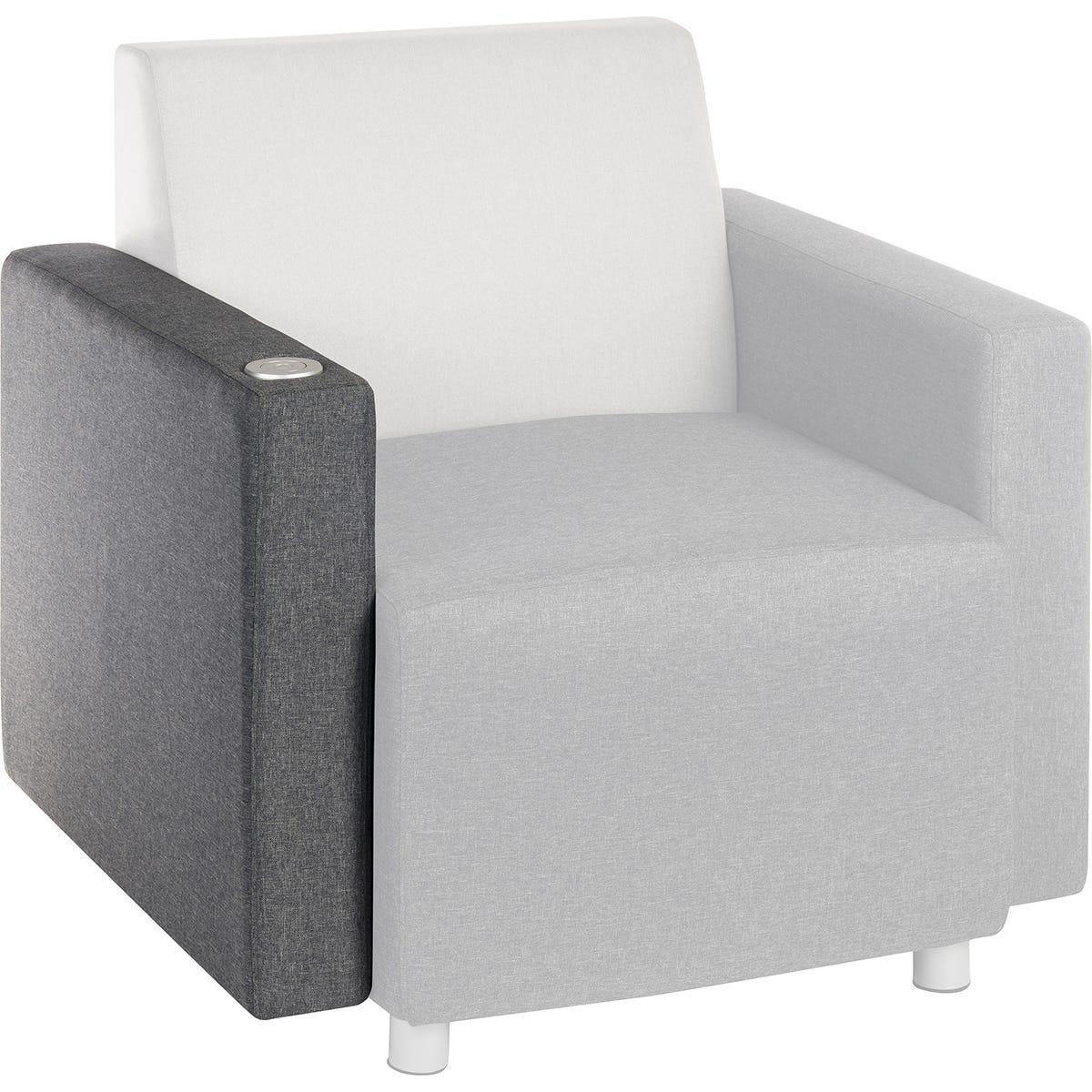 Teknik Cube Modular Reception Sofa - Dark Grey Right Hand Chair