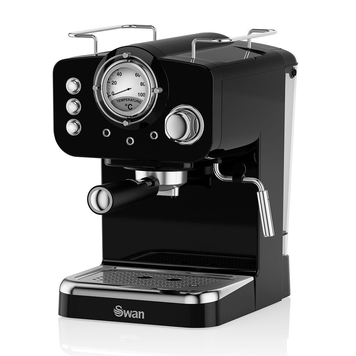 Swan SK22110BN Retro Pump 1100W Espresso Coffee Machine - Black