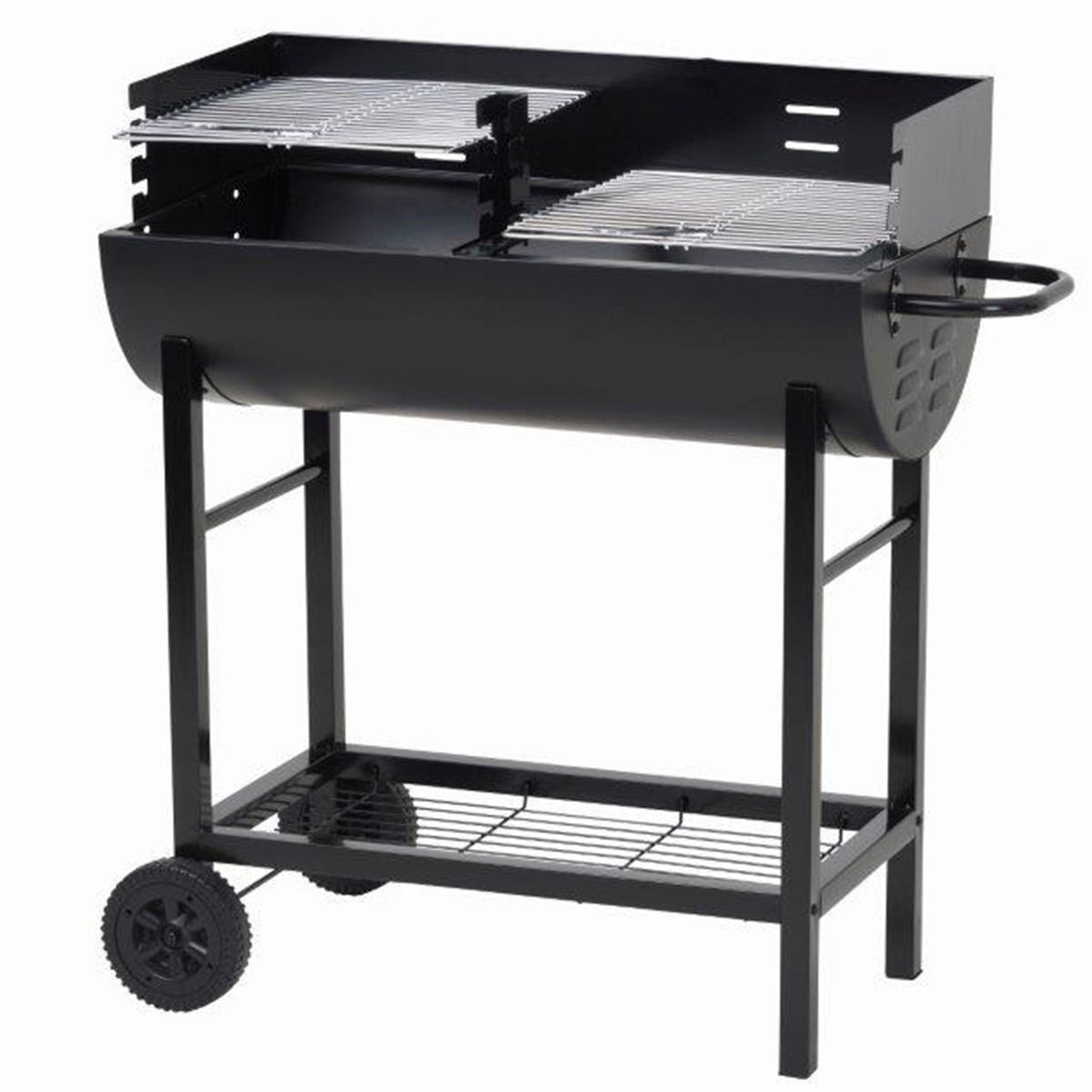 Lifestyle Appliances 1/2 Barrel Charcoal BBQ with Wind Shield