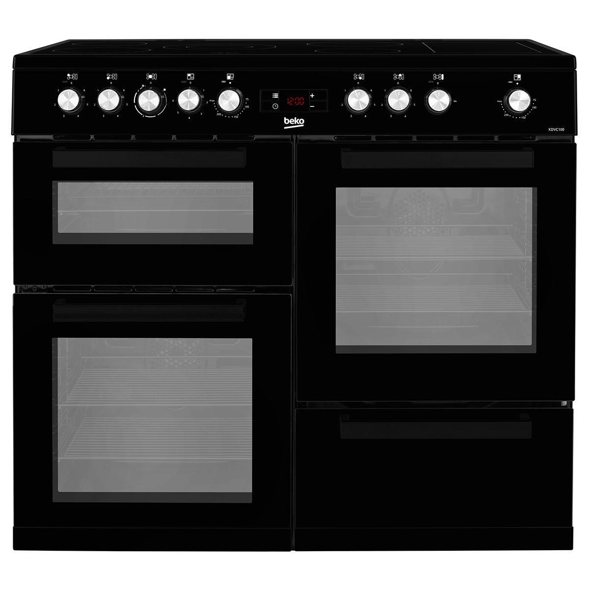 Beko KDVC100K Freestanding 100cm Double Oven Range Cooker - Black