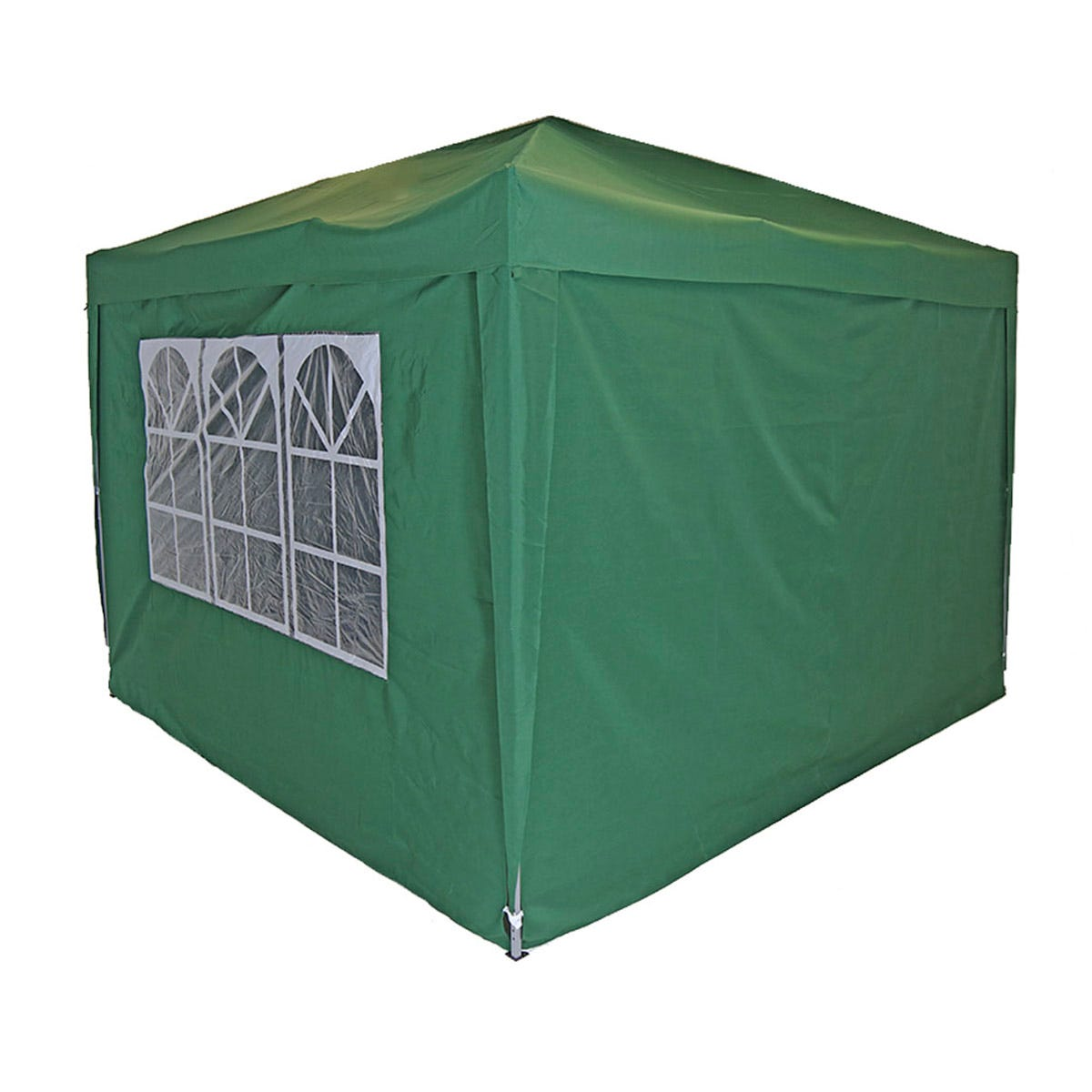 Charles Bentley 3 x 3m Pop Up Gazebo with Sides - Green