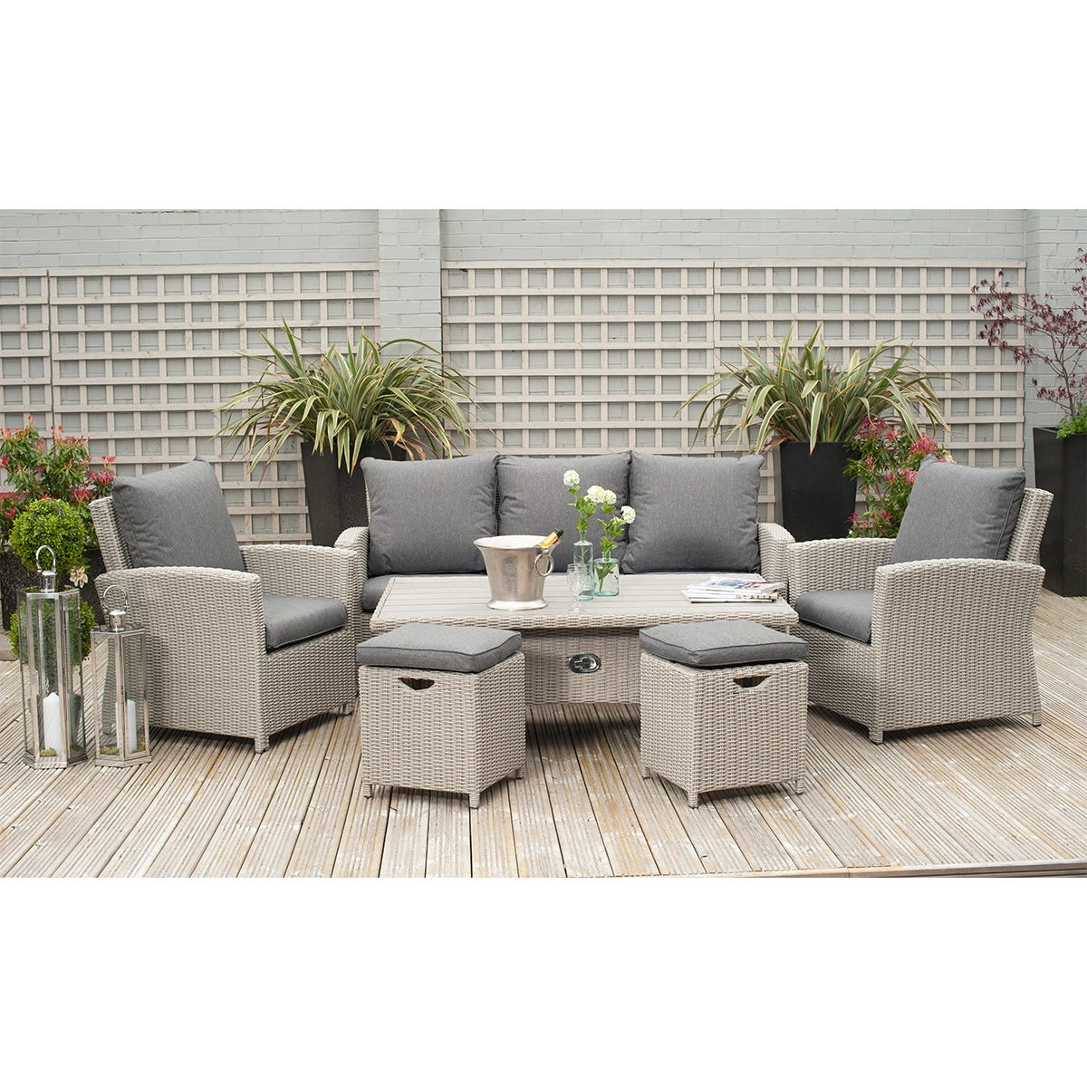 Pacific Lifestyle Barbados 6 Piece Relaxed Dining Set with Adjustable Table - Stone Grey