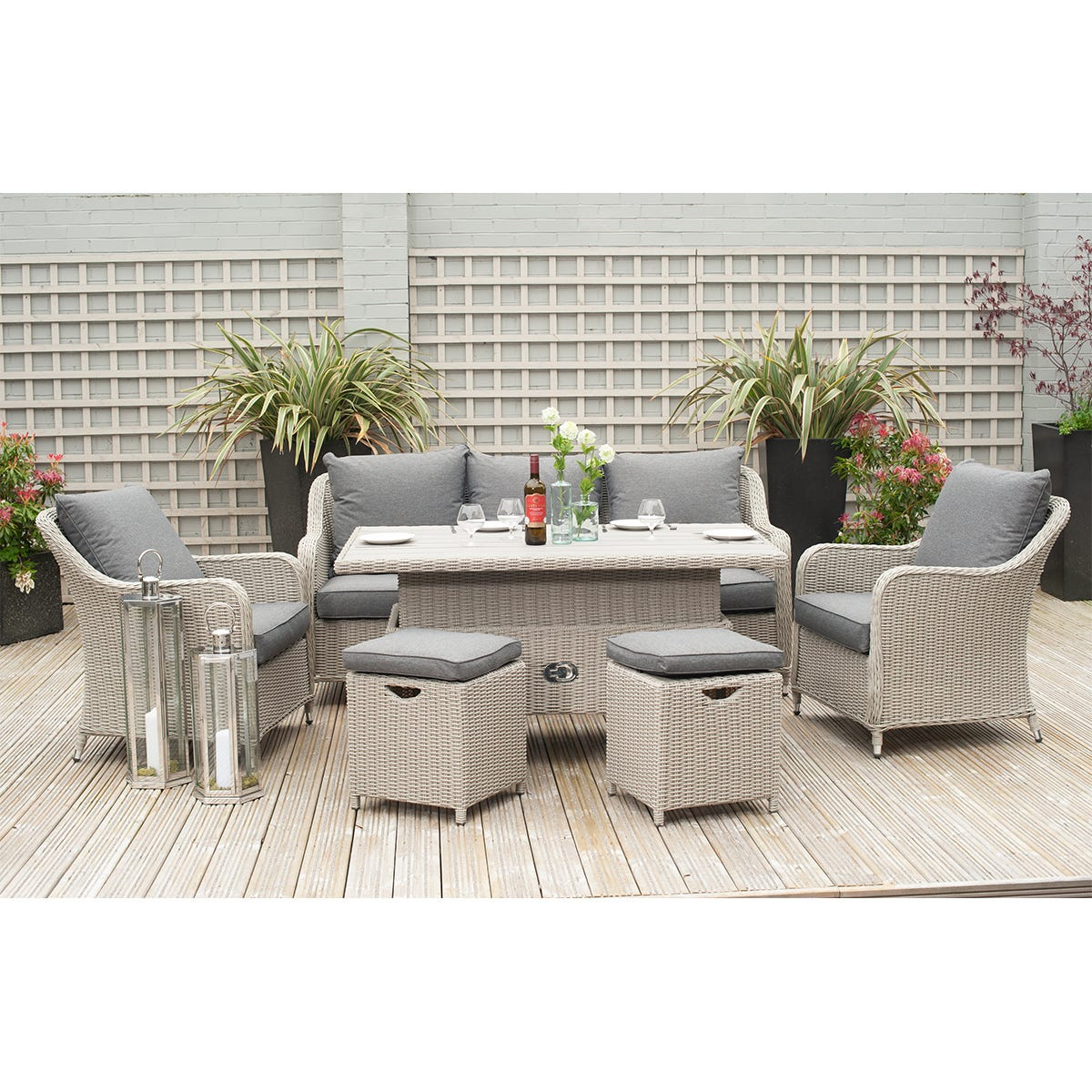 Pacific Lifestyle Antigua Dining Set with Adjustable Table - Stone Grey