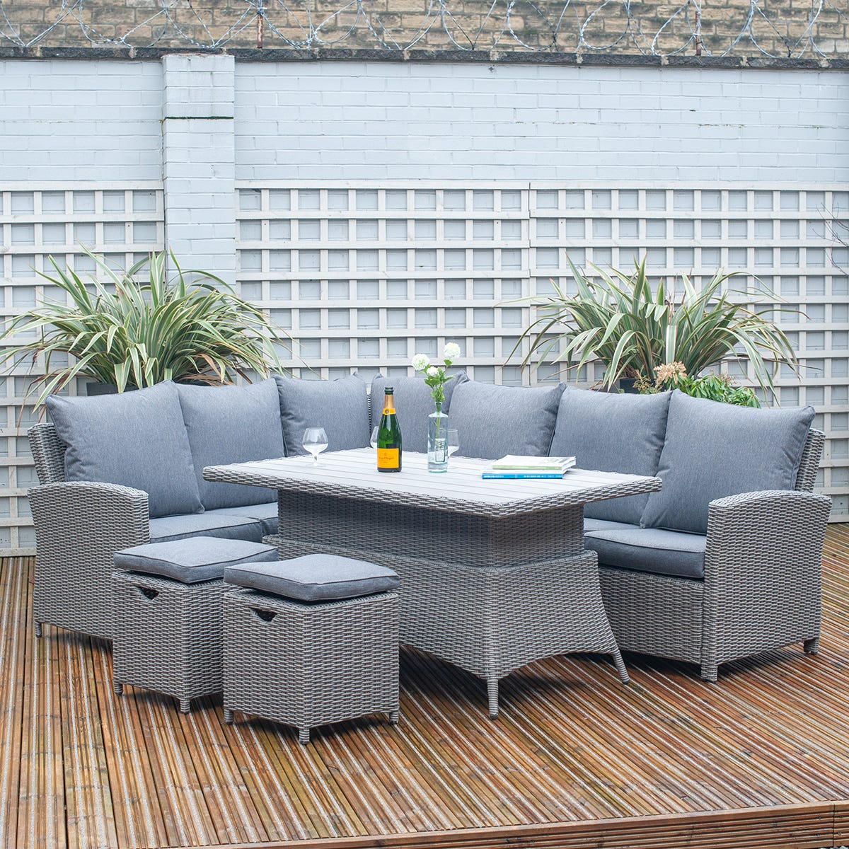 Pacific Lifestyle Barbados Dining Corner Set with Adjustable Table - Slate Grey