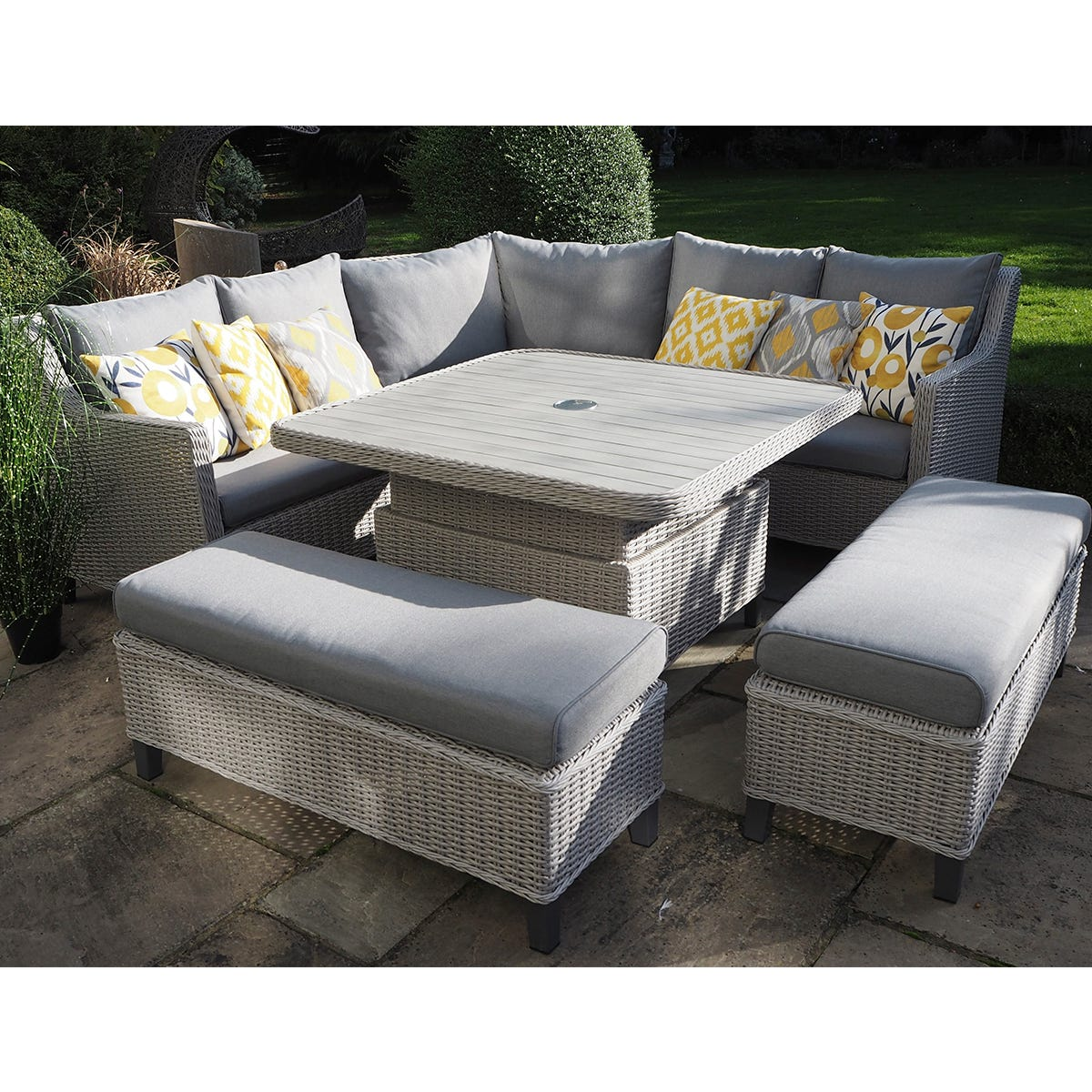 LG Outdoor Oslo Large Square Modular Dining Set with Crank Adjustable Table