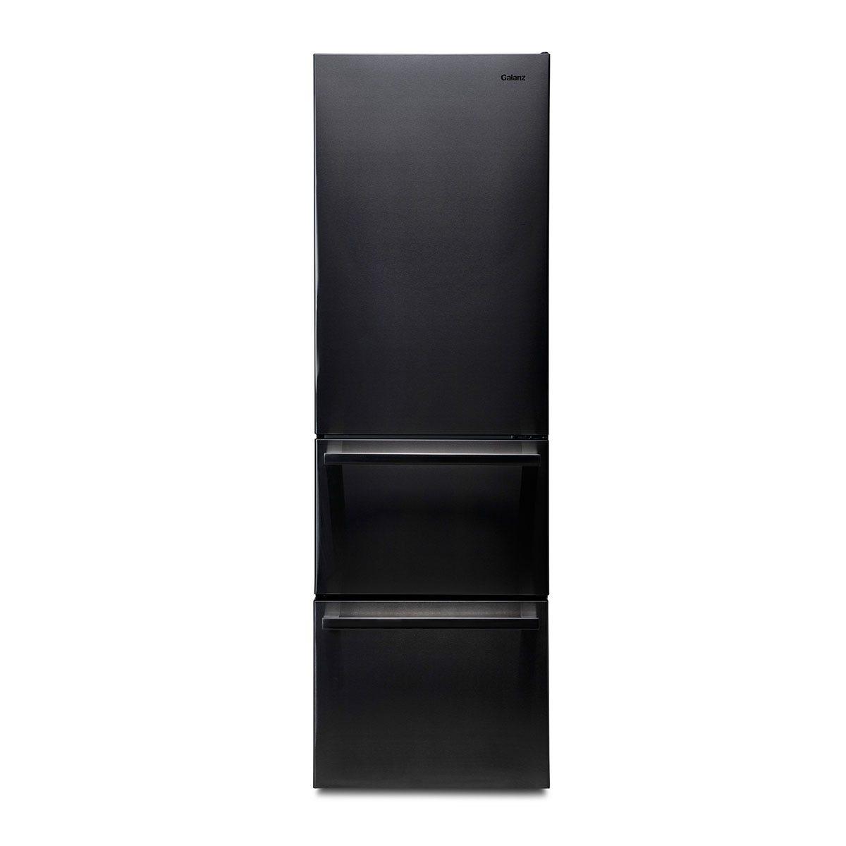Galanz FFK002SS Freestanding 318L Tri-Door Fridge Freezer - Black Stainless Steel
