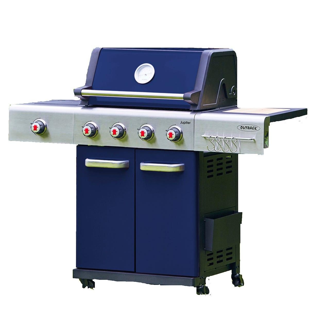 Outback Jupiter 4-Burner Hybrid Gas & Charcoal BBQ - Blue