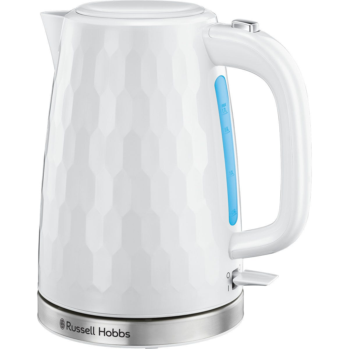 Russell Hobbs 26050 Honeycomb Textured 3000W Cordless Electric 1.7L Kettle - White