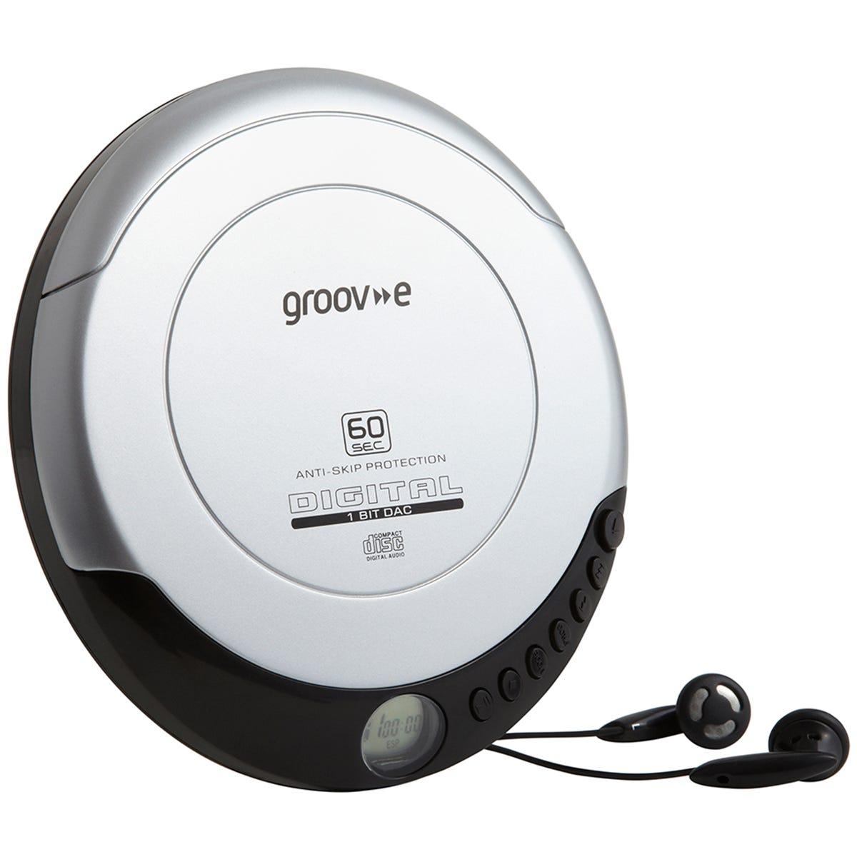 GROOV-E Retro GV-PS110-SR Personal CD Player - Silver, Silver