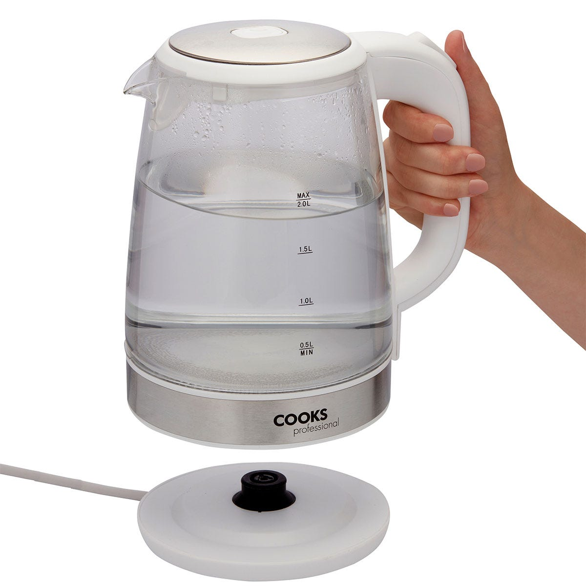 Cooks Professional G3143 Cordless 2200W 2L Glass Kettle - White