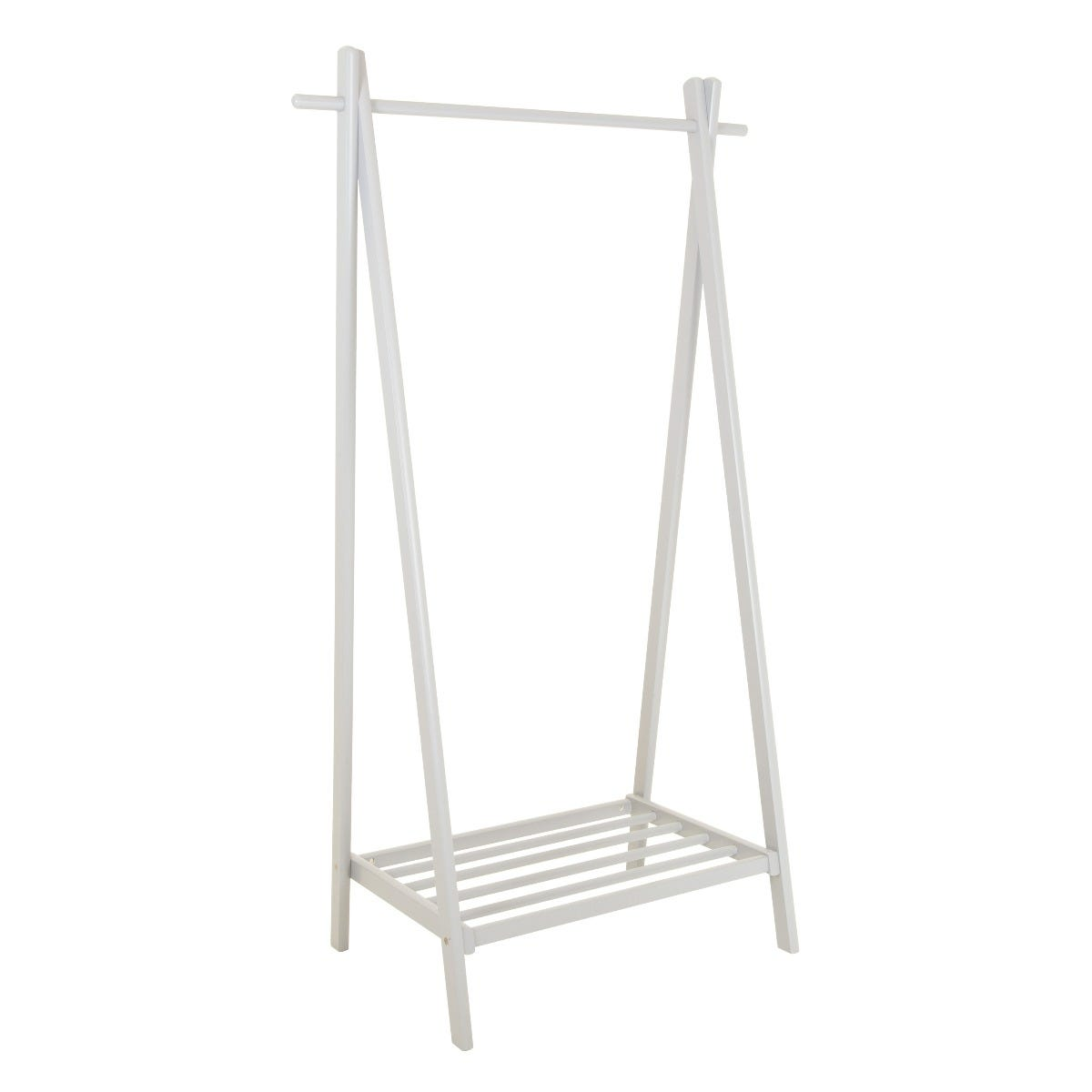 Charles Bentley Large Solid Wood Clothes Rail & Shoe Rack - White
