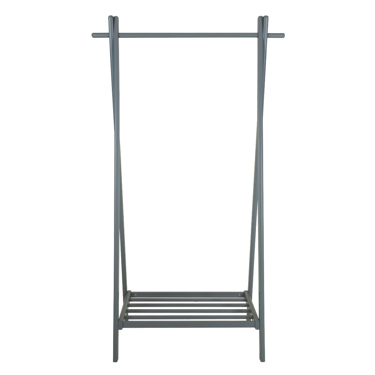 Charles Bentley Large Solid Wood Clothes Rail & Shoe Rack - Grey