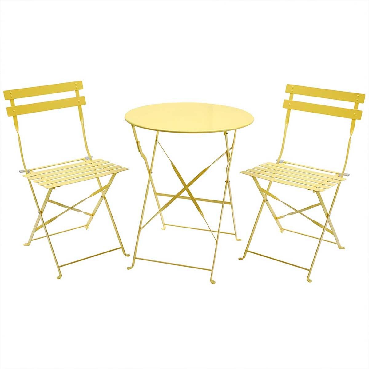 Charles Bentley Folding Metal Bistro Set - Yellow