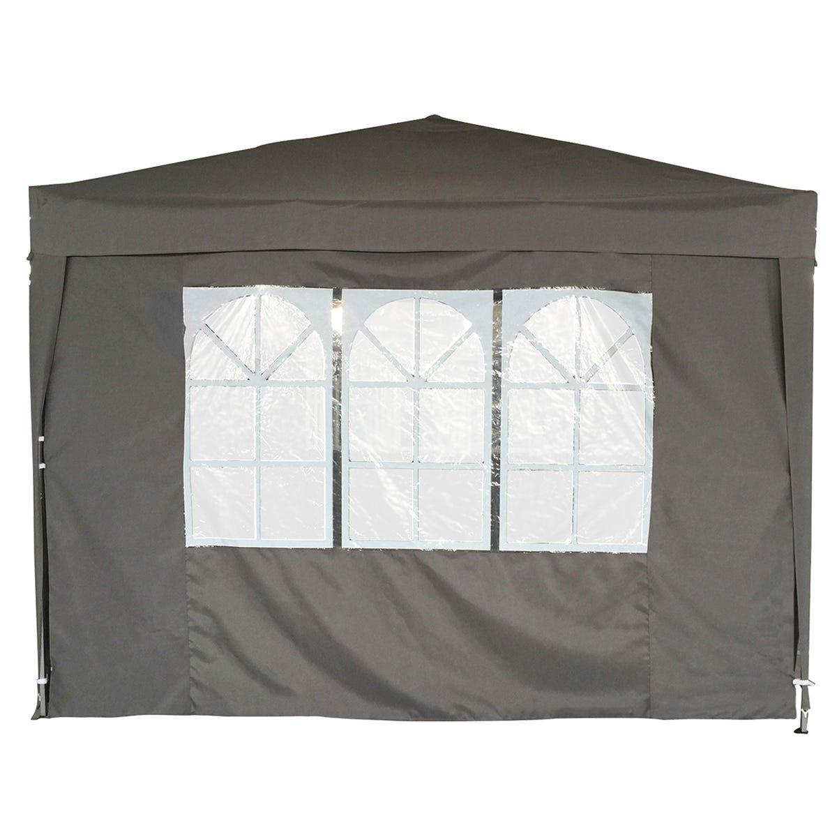 Charles Bentley 3x3m Pop Up Gazebo With 3 Side Walls - Grey
