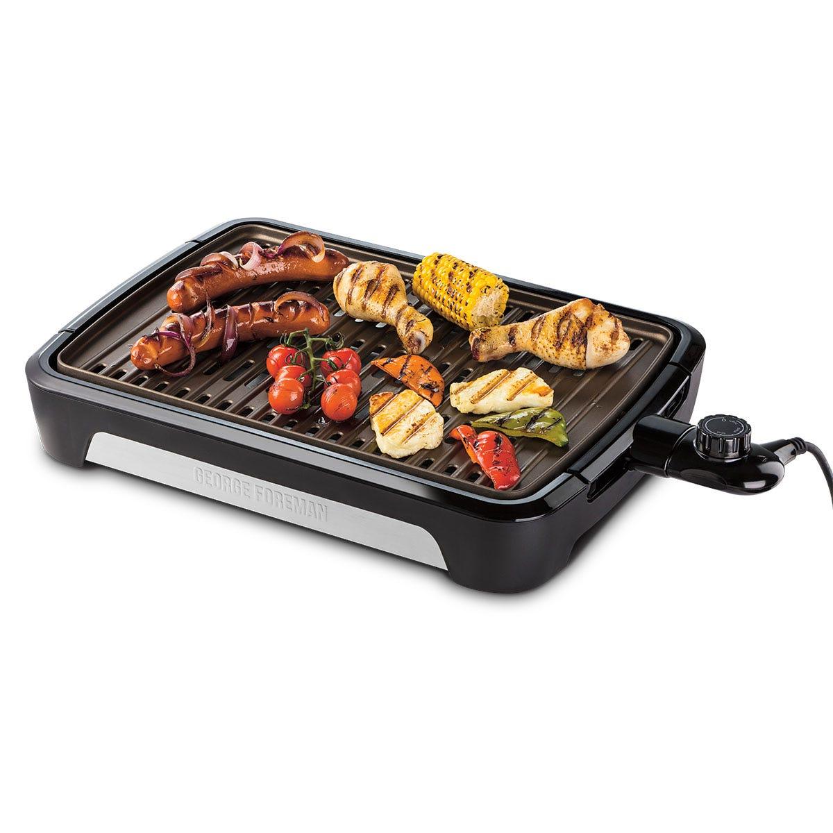 George Foreman 25850 Smokeless Electric 1606W BBQ Grill - Black