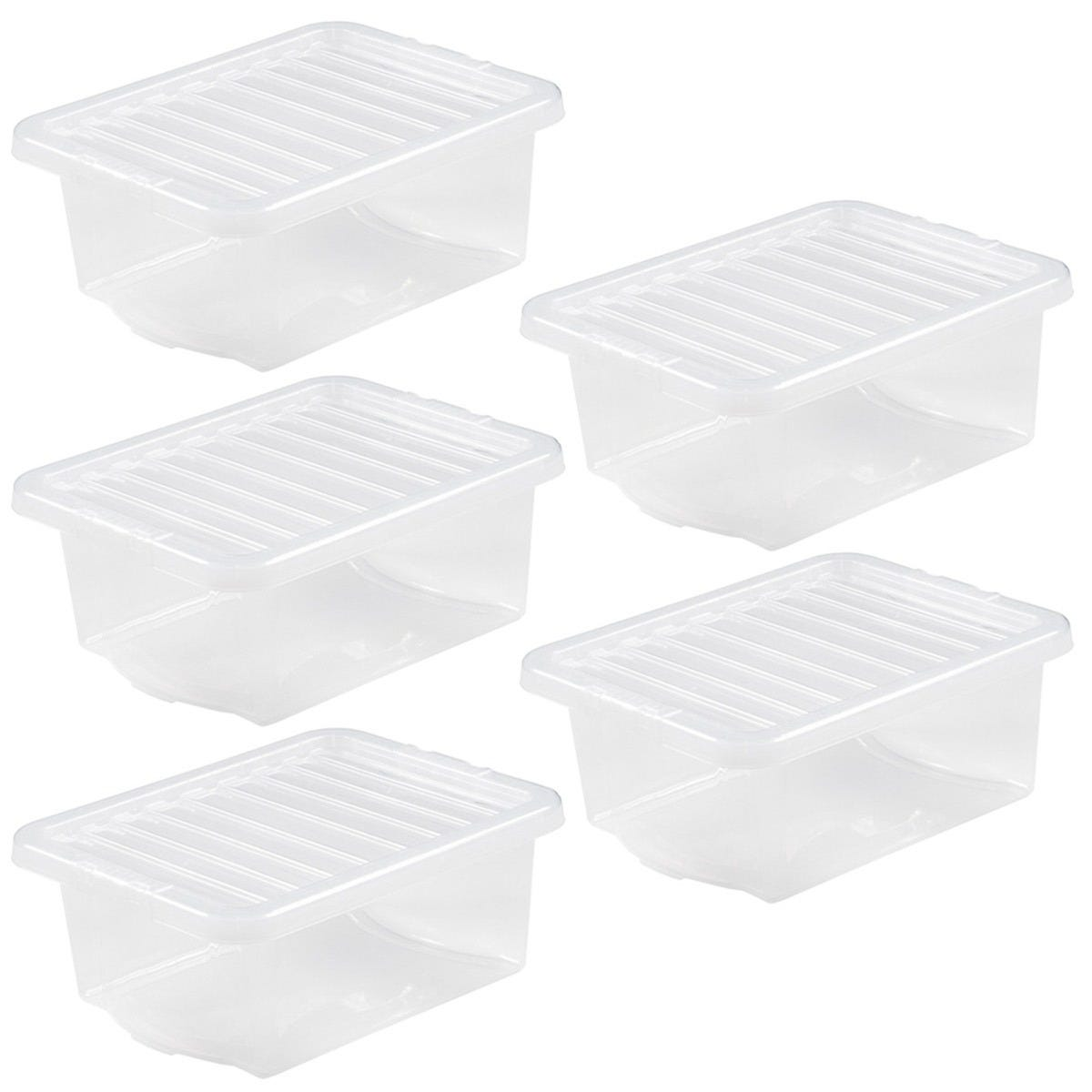 Wham Crystal Clear Storage Box with Lid 16L - Set of 5