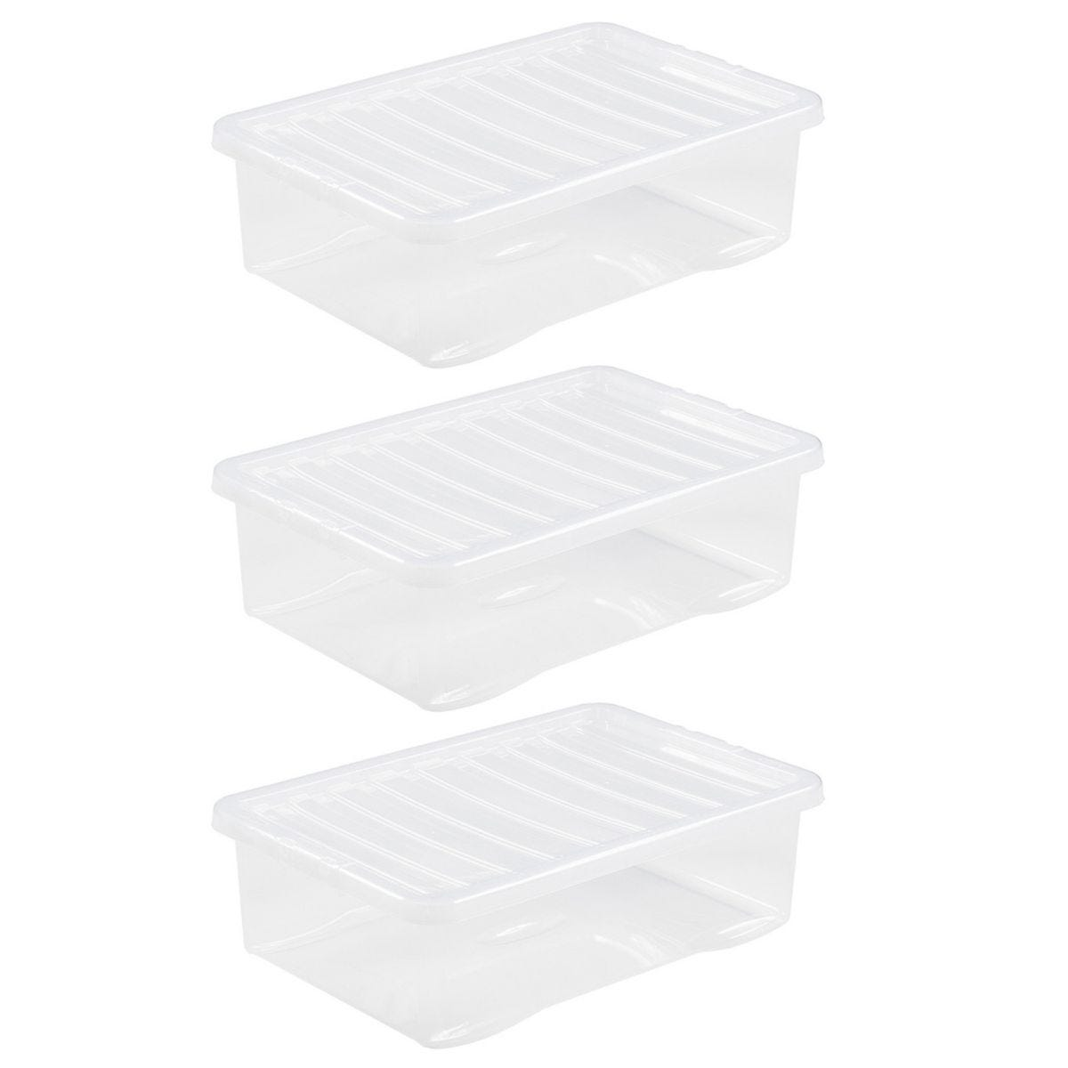 Wham Crystal Clear Under Bed Storage Box with Lid 32L - Set of 3