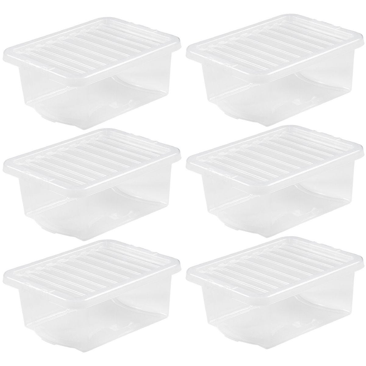 Wham Crystal Clear Storage Box with Lid 16L - Set of 6