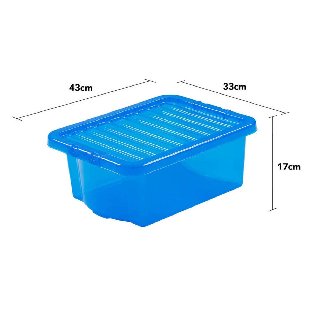 Wham Crystal Blue Storage Box with Lid 16L - Set of 6