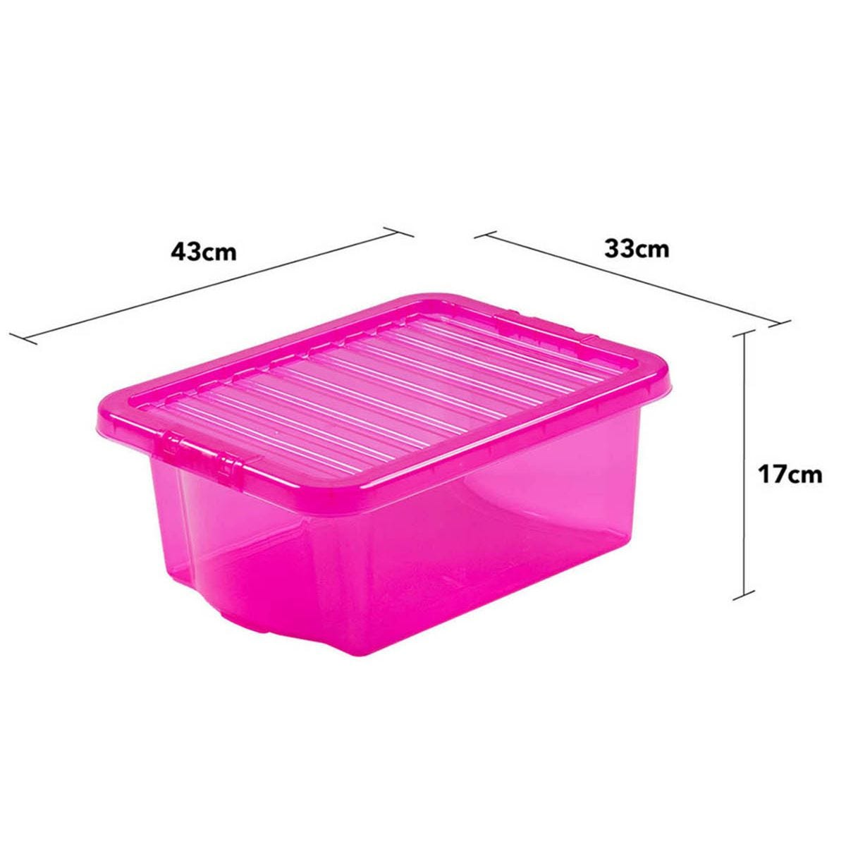 Wham Crystal Pink Storage Box with Lid 16L - Set of 6